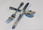 Cutlery watercolour